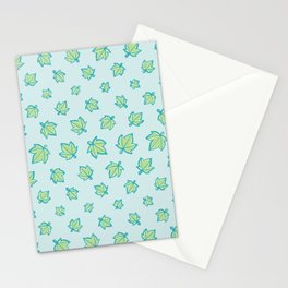 Aqua and Green Star Leaf Pattern Stationery Cards