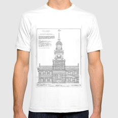 Independence Hall Blueprint Schematics X-LARGE Mens Fitted Tee White
