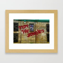 Stop the Zombies!!! Framed Art Print