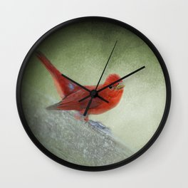 Song of the Summer Tanager 4 - Birds Wall Clock