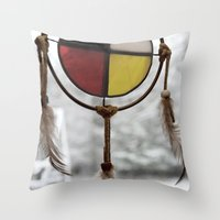 medicine Throw Pillows featuring Medicine Wheel by Jessi Trafton