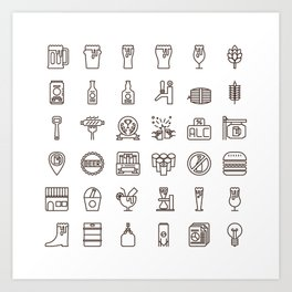 Craft Beer Icons Art Print