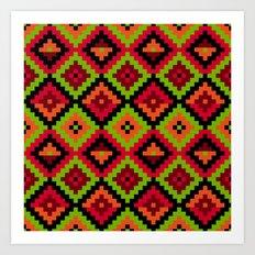 Aztec pattern - green Art Print
