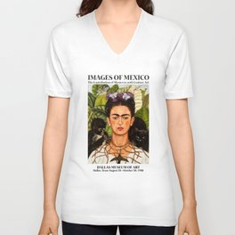 "Frida Kahlo Exhibition Art Poster - ""Self-Portrait with Thorn Necklace and Hummingbird"" 1988 Unisex V-Neck"
