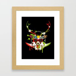 A stag's head with red sunglasses Framed Art Print