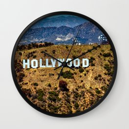 Hollywood Sign, Los Angeles, California, mountains, Griffith Park , USA, Cities, Skyline Wall Clock