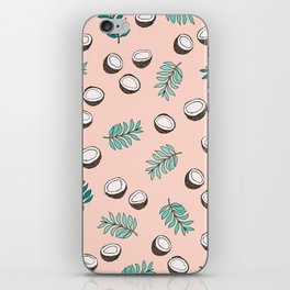Little coconut garden summer surf palm leaves pink iPhone Skin