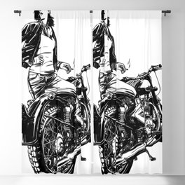 Woman Motorcycle Rider Blackout Curtain