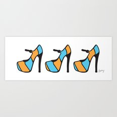 High Heel Parade - Blue & Orange Art Print