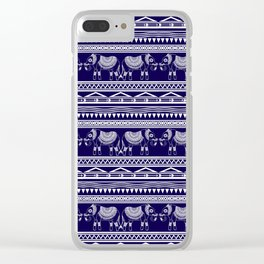 White and Navy Blue Elephant Pattern Clear iPhone Case