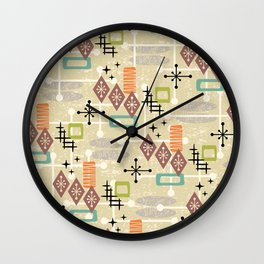 Retro Mid Century Modern Atomic Abstract Pattern 241 Wall Clock