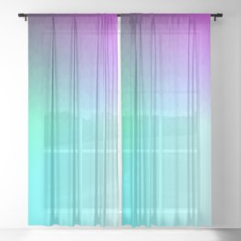 Six Color Ombre Cyan, Purple, Green, Pink, Purple, Blue, Spectrum Flame Sheer Curtain