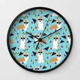 Rad Corgi Dog - 80s, 90s retro style rad corgi cute corgi design Wall Clock
