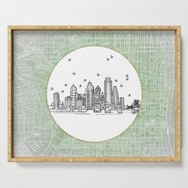 Philadelphia, Pennsylvania City Skyline Illustration Drawing Serving Tray