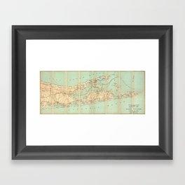 Vintage Road Map of Long Island (1905) Framed Art Print