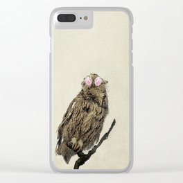 Owl with Pink Rose Eyes on Beige with Vintage Texture Clear iPhone Case