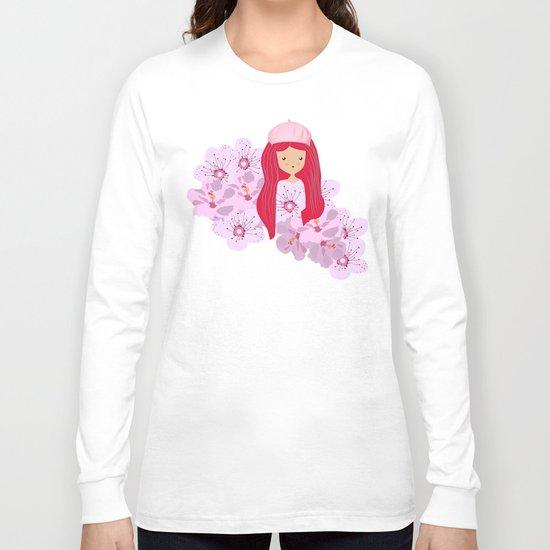 Girl on flowers Long Sleeve T-shirt