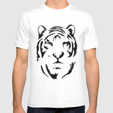 Minimalistic Tiger Face MEDIUM Mens Fitted Tee White