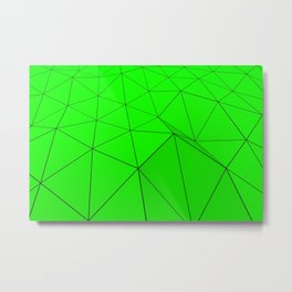 Green low poly displaced surface with black lines Metal Print
