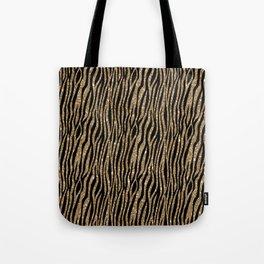 Black & Gold Glitter Animal Print Tote Bag