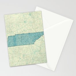 Tennessee State Map Blue Vintage Stationery Cards