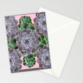 ORNATE JADE & GREEN SUCCULENT PINK   GARDEN Stationery Cards