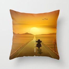 Biker On Route 66 Throw Pillow