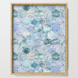 Ice Blue and Jade Stone and Marble Hexagon Tiles Serving Tray