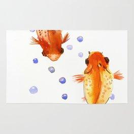 Goldfish, two fish, Koi Asian Style watercolor art, feng shui Rug