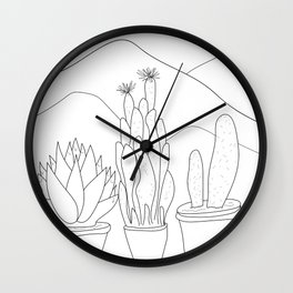Black and White Cactus and Mountain Minimal Illustration V2 Wall Clock