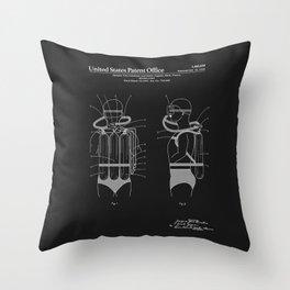 Jacques Cousteau Diving Gear Patent - Black Throw Pillow