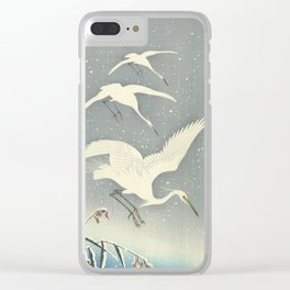 Descending egrets in snow, Ohara Koson Clear iPhone Case