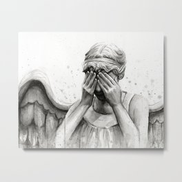 Weeping Angel Watercolor Painting Metal Print