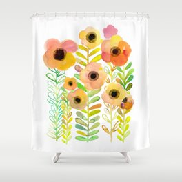 Peony field Shower Curtain