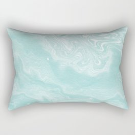Moki - pastel mint spilled ink japanese watercolor paper marbling marble trendy abstract painting  Rectangular Pillow