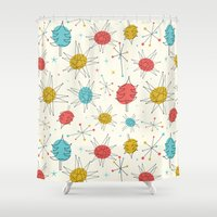 mid century Shower Curtains featuring Mid-Century Holiday Season by There is no spoon