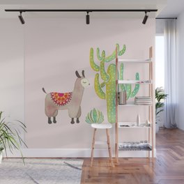 Cute alpacas with pink background Wall Mural