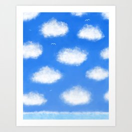 Blue and White Sea, Sky and Clouds Painting Art Print