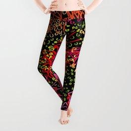 Australian Firewheel Flowers in Pink + Black Leggings