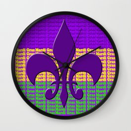 Mardi Gras  tri color with Fleur de lis Wall Clock