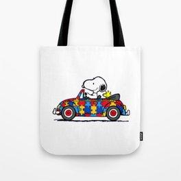 Snoopy drives a car Tote Bag