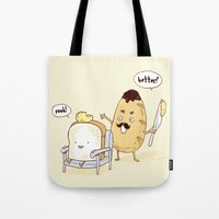bread Tote Bags featuring Bread Barber by Iconwalk