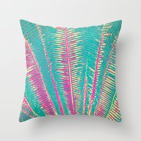 Throw Pillows featuring Girly Blue and Pink Tropical Palm Fronds by BlackStrawberry