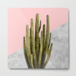 Cactus on Pink and Grey Marble Wall Metal Print