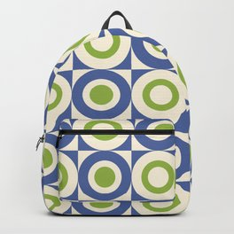 Mid Century Square and Circle Pattern 541 Blue and Green Backpack