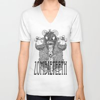 bigfoot V-neck T-shirts featuring Bigfoot by Iamzombieteeth Clothing