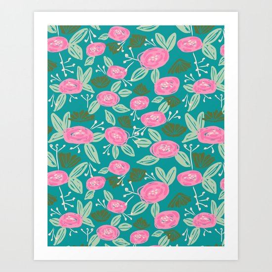Turquoise blossom blooms painting abstract pattern garden gardener plants summer spring bright  Art Print