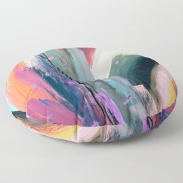 Eye of the Beholder [4]: a colorful, vibrant abstract in purples, blues, orange, pink, and gold Floor Pillow