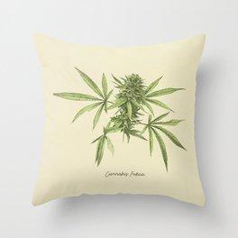 Vintage botanical print - Cannabis Throw Pillow