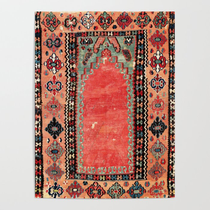 Sivas  Antique Cappadocian Turkish Niche Kilim Print Poster